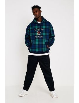 Tommy Jeans Crest Collection Navy Checked Hoodie by Tommy Jeans