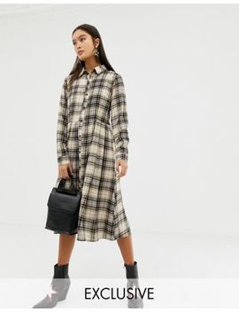 Glamorous Midi Shirt Dress In Check by Glamorous