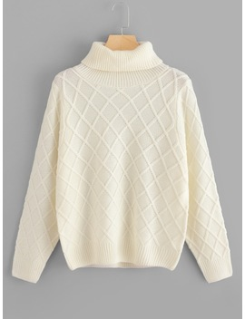 Rolled Neck Diamond Pattern Sweater by Shein