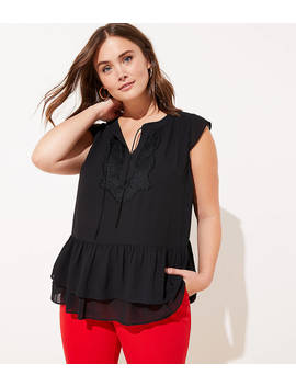 Loft Plus Lacy Tie Neck Flounce Shell by Loft