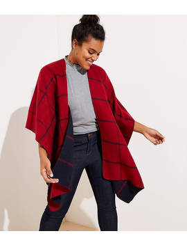 Loft Plus Reversible Plaid Poncho Wrap by Loft