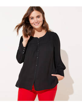 Loft Plus Textured Plaid Puff Sleeve Blouse by Loft