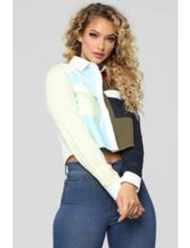 Colorblock Problems Collared Shirt   Multi by Fashion Nova