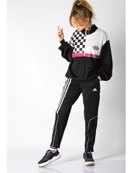 Vintage 80s Black Racing Track Jacket by Kaleidoo