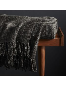 Styles Ebony Fringe Throw Blanket by Crate&Barrel