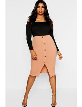 Plus Button Ribbed Midi Skirt by Boohoo