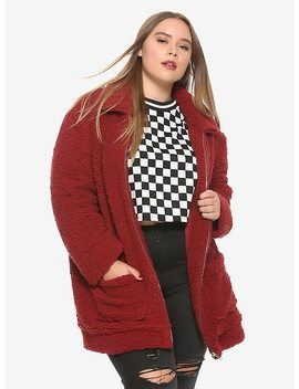 Burgundy Fuzzy Plush Zip Jacket Plus Size by Hot Topic