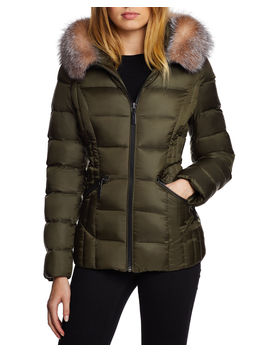Nikki Fox Fur Trim Mid Weight Puffer by Neiman Marcus