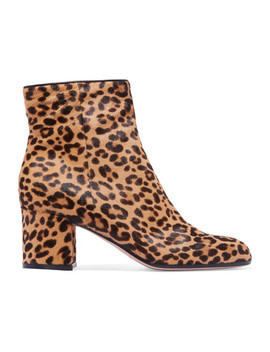 Margaux 65 Leopard Print Calf Hair Ankle Boots by Gianvito Rossi