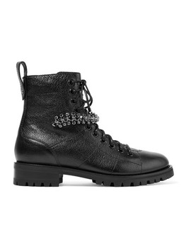 Cruz Crystal Embellished Textured Leather Ankle Boots by Jimmy Choo