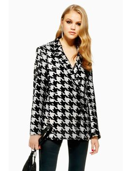 Houndstooth Sequin Jacket by Topshop