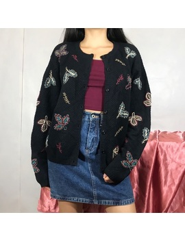 90's Fall Autumn Leaves Embroidered Cardigan by Poshmark