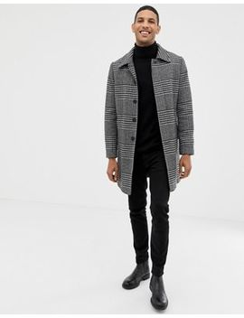 Burton Menswear Wool Coat In Black Dogtooth by Burton Menswear London