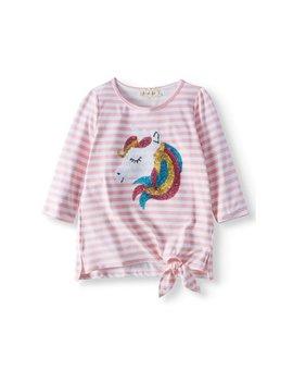 Sequin Unicorn Striped Side Tie Long Sleeve Shirt (Little Girls & Big Girls) by Btween