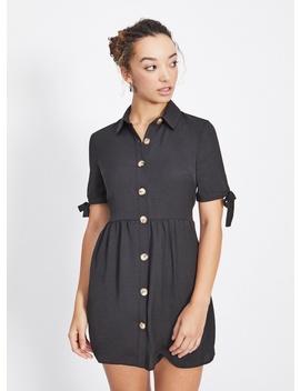 Petite Black Horn Button Shirt Dress by Miss Selfridge