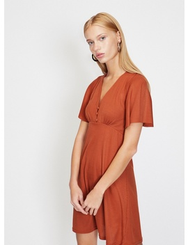 Ribbed Button Angel Sleeve Shift Dress by Miss Selfridge