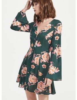 Button Through Floral Print Skater Dress by Miss Selfridge