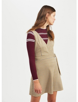Ochre D Ring Checked Pinafore Dress by Miss Selfridge