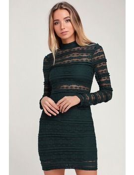 Reece Forest Green Lace Long Sleeve Bodycon Dress by Lush