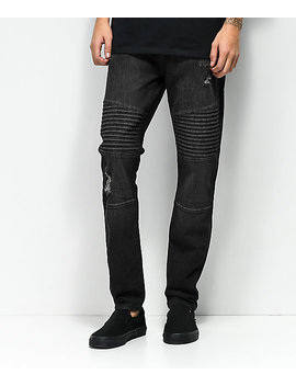 Elwood Moto Charcoal Destroyed Denim Jeans by Love, Fire