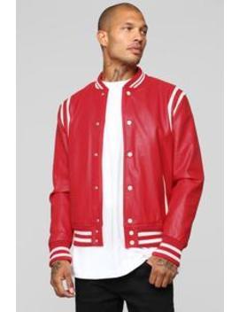 The Rookie Varsity Jacket   Red by Fashion Nova