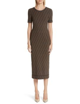 Logo Mesh Midi Sheath Dress by Fendi
