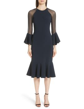 Sheer Ruffle Sleeve Cocktail Dress by Sachin & Babi