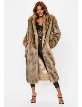 Tan Tipped Faux Fur Maxi Coat by Missguided