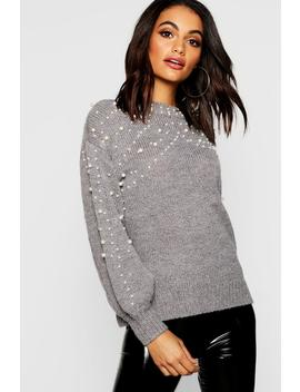 Pearl Detail Knitted Oversized Jumper by Boohoo