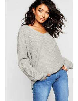Lace Up Back Knitted Jumper by Boohoo