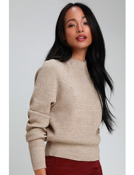 Too Good Heathered Beige Knit Pullover Sweater by Free People