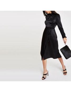 Black Tie Waist Long Sleeve Midi Dress by River Island