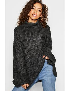 Rib Knit Wide Sleeve Turn Up Cuff Jumper by Boohoo