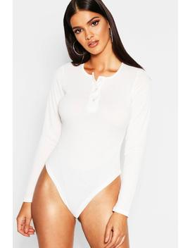 Rib Button Detail Long Sleeve Bodysuit by Boohoo