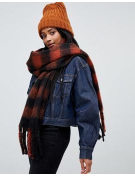 Monki Check Scarf In Rust And Rust And Black by Monki