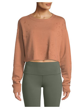 Fierce Distressed Crewneck Cropped Pullover Sweatshirt by Alo Yoga