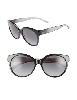 Stacked T 55mm Round Sunglasses by Tory Burch