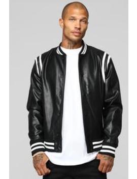 The Rookie Varsity Jacket   Black by Fashion Nova