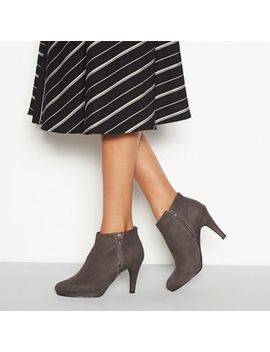 The Collection   Dark Grey Suedette Platform Heel Ankle Boots by The Collection