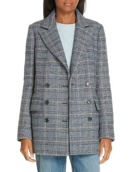 Plaid Double Breasted Wool Blend Jacket by La Vie Rebecca Taylor