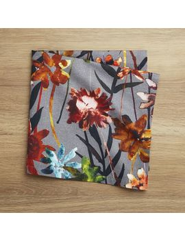 Suki Grey Floral Print Napkin by Crate&Barrel
