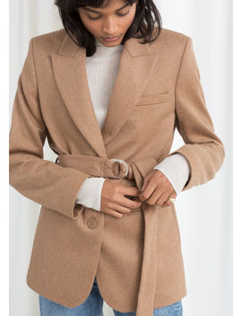 Belted Wool Blend Blazer by & Other Stories
