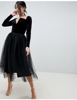 Asos Design Tall Velvet Tulle Midi Dress by Asos Design