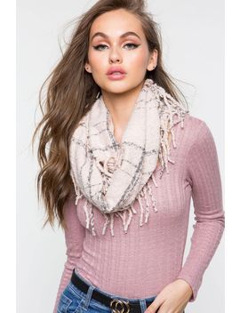 Fringed Ashley Plaid Infinity Scarf by A'gaci