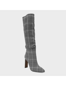 Women's Leigh Plaid Slouch Tall Fashion Boots   Who What Wear™ Black by Who What Wear