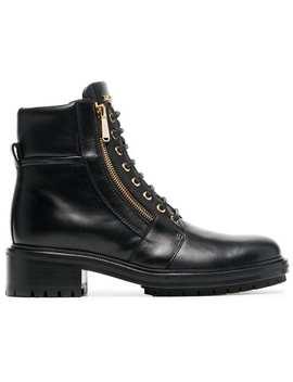 Black Ranger 15 Zip Leather Boots by Balmain