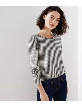Striped Button Cuff Long Sleeve Tee by Loft