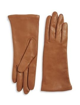 Mid Length Cashmere Lined Leather Gloves by Lord & Taylor
