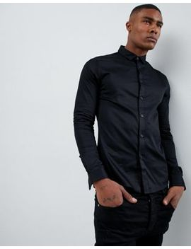 Asos Design Skinny Fit Sateen Shirt With Turned Back Placket In Black by Asos Design