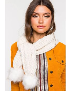Pom Accent Cable Rib Chenile Scarf by A'gaci